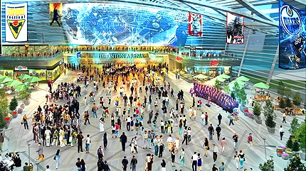 An artist's rendering showing the arena foyer of the proposed arena district in downtown Edmonton.  Supplied by The Katz Group.