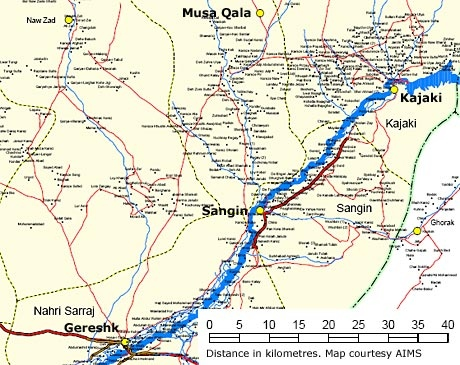 A map showing Musa Qala in relation to Sangin and Gereshk in Afghanistan's Helmand province (map courtesy AIMS)