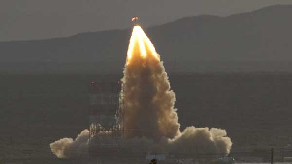 The new Orion crew capsule is catapulted into the air on Thursday, May 6, 2010 at White Sands Missile Range, N.M., during a test of Orion's launch-abort system. (AP / Craig Fritz)