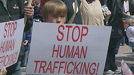 Hundreds attended a rally against human trafficking at the Manitoba Legislative Buildings on Saturday.