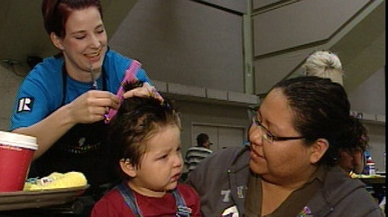 A number of free services including haircuts were provided at the Homeless Connect event at the Shaw Conference Centre Sunday.