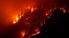 A wildfire burns on Terrace Mountain north of Kelowna, B.C., in the early morning hours of Tuesday August 4, 2009. (CP/Darryl Dyck)