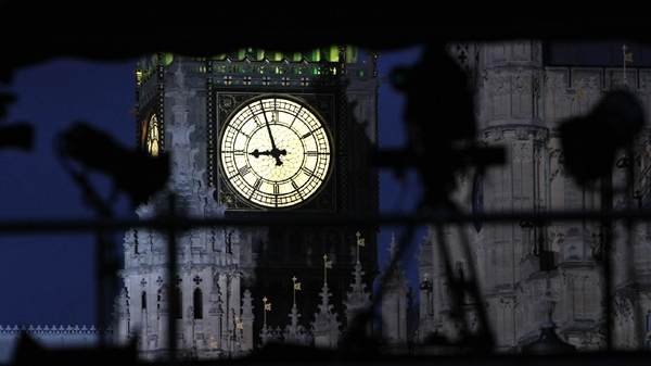 Television and media tents are set up outside the Palace of Westminster, with the Clock Tower containing Big Ben illuminated in the background, as Britain's politicians continue their talks to form a government in London, Monday evening, May, 10, 2010. (AP / Alastair Grant)