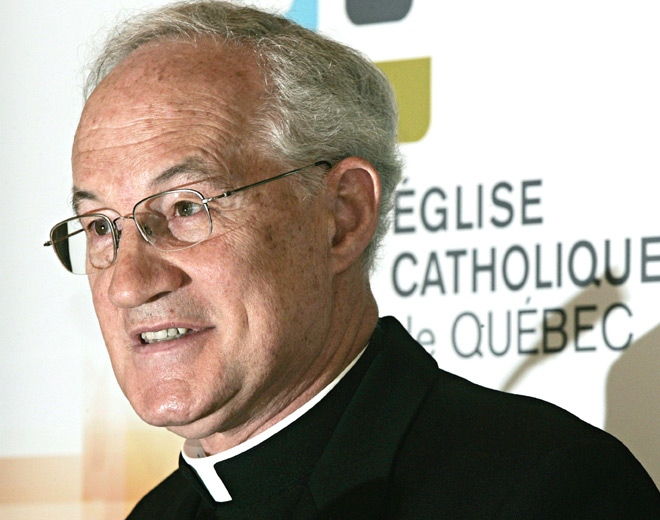 Cardinal Marc Ouellet, archbishop of Quebec, speaks during a news conference in this May 19, 2005 file photo in Quebec City. (Jacques Boissinot / THE CANADIAN PRESS)