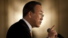 United Nations Secretary-General Ban Ki-Moon delivers a speech at the Chateau Laurier in Ottawa on Wednesday May 12, 2010. (Sean Kilpatrick / THE CANADIAN PRESS)