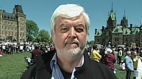 Jim Hughes, president of the Campaign Life Coalition, attends the pro-choice rally on Parliament Hill, Thursday, May 13, 2010.