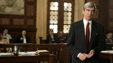 """This undated photo provided by NBC Universal shows actor Sam Waterston, left, as district attorney Jack McCoy in a scene from an episode of """"Law and Order."""" (AP Photo/NBC Universal, Virginia Sherwood, File)"""