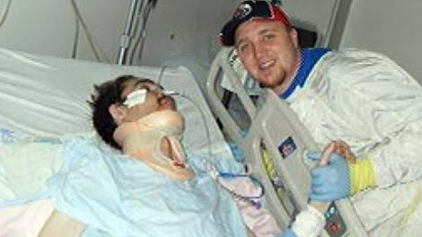 Dustin LaFortune (left) and his cousin Marcel in hospital.