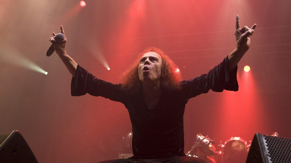 Frontman Ronnie James Dio of British heavy metal group 'Heaven and Hell' on stage during their concert in Oslo, Norway on Thursday June 4 2009. (AP Photo / Terje Bendiksby, Scanpix )