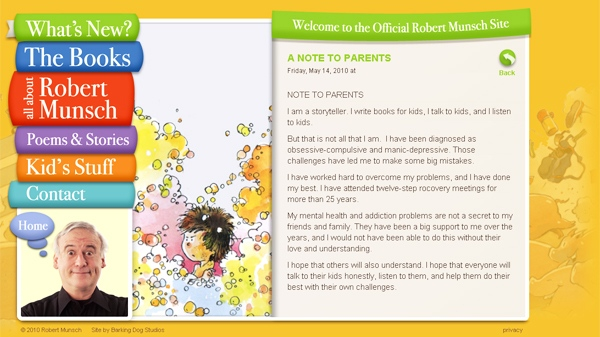 In a message titled 'Note to Parents' posted on his website, the bestselling author Robert Munsch, 64, admitted he's been diagnosed with obsessive-compulsive disorder and manic-depression.