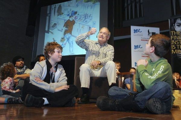 Canadian author Robert Munsch celebrates Family Literacy Day with students from Kimberely School at the Royal Conservatory of Music in Toronto, Wednesday, January 27, 2010. (THE CANADIAN PRESS / ABC CANADA Literacy Foundation)