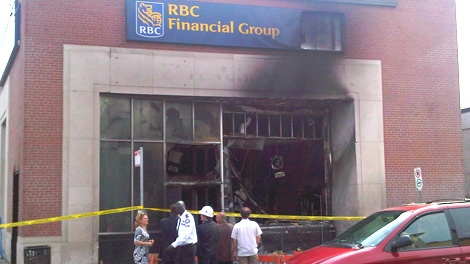 A suspicious fire ripped through an RBC branch at the corner of Bank Street and First Avenue, Tuesday, May 18, 2010. Viewer photo submitted by: Alexander Hayes