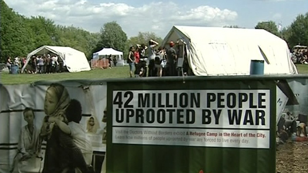 The mock refugee camp at Jeanne Mance park will be open to visitors until Sunday, May 23, 2010.