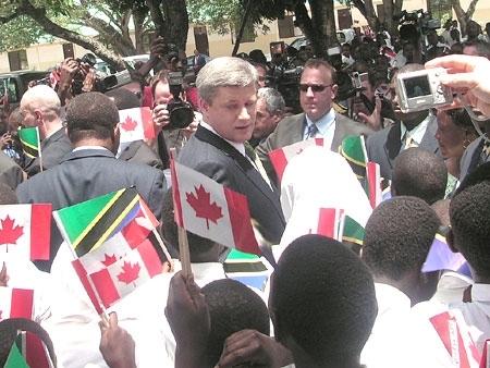 Prime Minister Stephen Harper is welcomed by