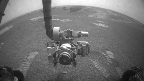 Image provided by NASA shows NASA's Mars Exploration Rover Opportunity using its front hazard-identification camera to obtain this image at the end of a drive on the rover's 1,271st sol, or Martian day (Aug. 21, 2007). (AP Photo/NASA)