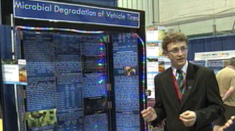 Kyle Schole is seen here at the science fair which was held in Peterborough, Ontario this weekend.