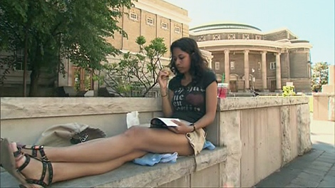 A student studies at the University of Toronto on Monday, May 24, 2010. The school will be shut during the G20 Summit in June.