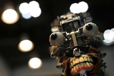 A humanoid robot, without its facial skin, is displayed at Japan's largest robot convention in Tokyo on Wednesday Nov. 28, 2007. (AP Photo/David Guttenfelder)