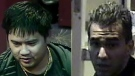 Warrants are out for the arrest of Vu Thanh Tran, pictured left, and police are still trying to determine the identity of the man pictured right.