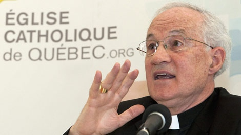Cardinal Marc Ouellet, Archbishop of Quebec, responds to media questions over comments he made a few days ago on abortion Wednesday May 26, 2010 in Quebec City. (THE CANADIAN PRESS/Jacques Boissinot)