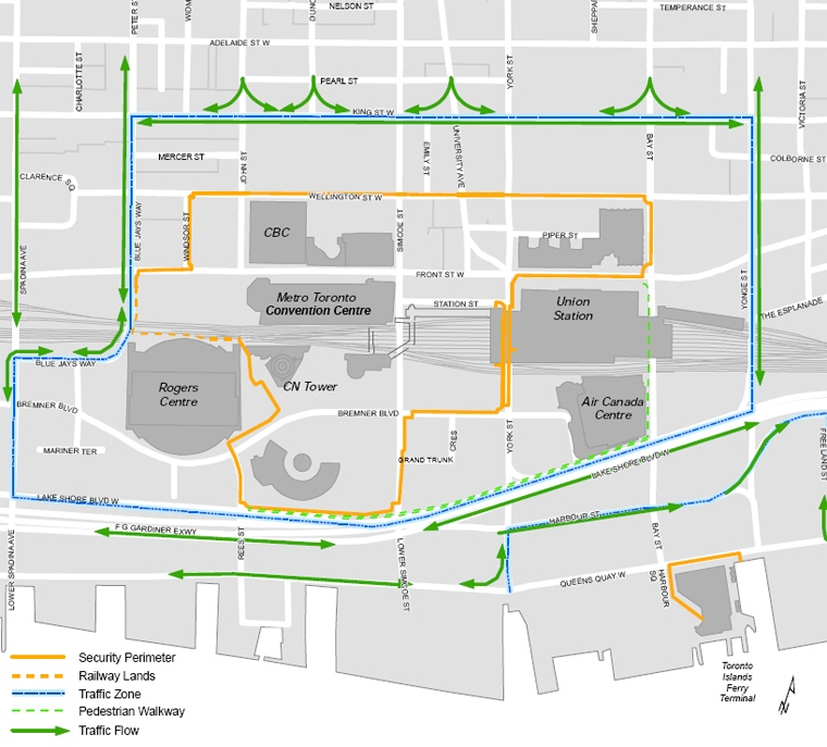 This map provided by the Integrated Security Unit reveals the Traffic / Perimeter Plans for G20 Summit in downtown Toronto.