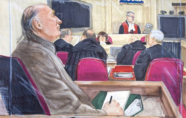 An artist's drawing of accused serial killer Robert Pickton, left, listening to the judge charge the jury at BC Supreme Court in New Westminster, Friday, Nov. 30, 2007. (Felicity Don / THE CANADIAN PRESS)