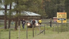 Cranbrook RCMP investigate the scene of a fatal shooting just east of the city on Saturday, May 29, 2010. (CTV)