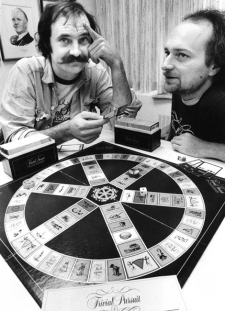 Chris Haney (left) and Scott Abbott play Trivial Pursuit, the successful board game they invented. (THE CANADIAN PRESS)