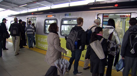 Morning commuters crowd into a SkyTrain on the popular new Canada Line. June 2, 2010. (CTV)