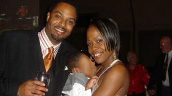 Lucita Charles, pictured with her son as well as boyfriend Patrick Kirk Barrett. Barrett is currently standing trial for Charles' murder.