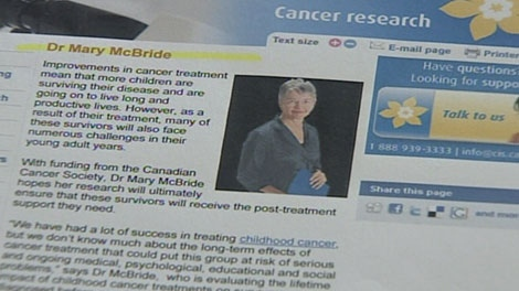 """The Canadian Cancer Society's website lists Mary McBride as """"Dr."""" even though she never finished her PhD. June 2, 2010. (CTV)"""