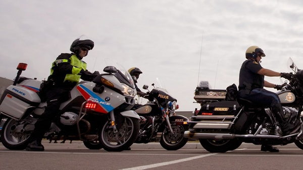 Motorcycles in a motorcade meant to escort dignitaries are shown as the Toronto Police demonstrate the security mesures in view of the G8 and G20 summit in Toronto on Thursday, June 3, 2010. (THE CANADIAN PRESS /Adrien Veczan)