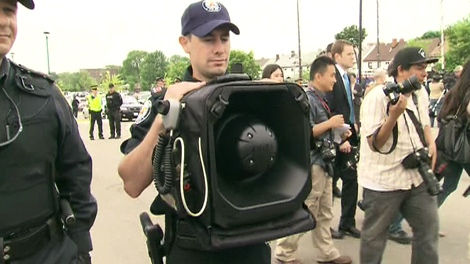 Police show off a controversial LRAD, or Long Range Acoustic Device, at a media briefing for G20 Summit security on Thursday, June 3, 2010.
