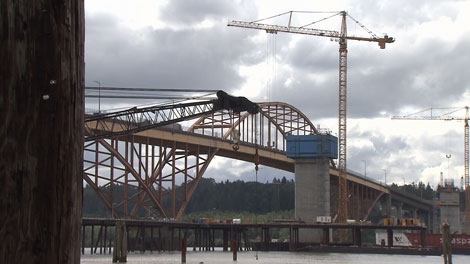 Construction crews work on the 10-lane replacement for the Port Mann Bridge. June 3, 2010. (CTV)