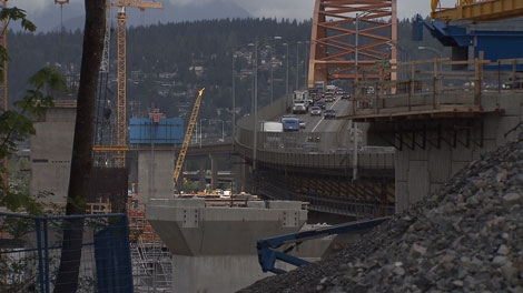 Construction crews work on the 10-lane replacement for the Port Mann Bridge. June 3, 2010. (CTV)