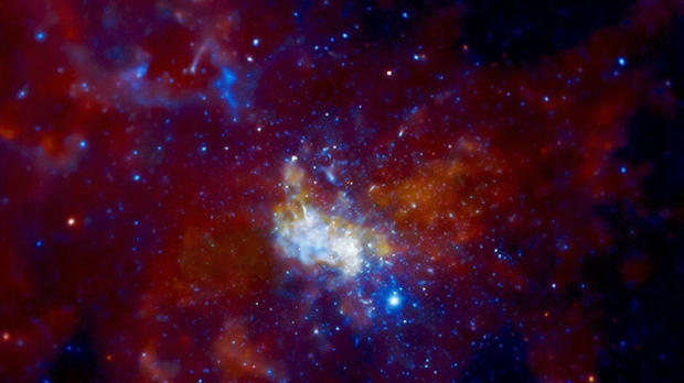 An image released by NASA Jan. 5, 2010, shows Sagittarius A, the super-massive black hole at the center of the Milky Way Galaxy made from data provided by the Chandra X-ray Observatory.  (AP / NASA)