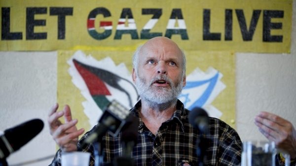 Canadian peace activist Kevin Neish, who was on board a ship raided by Israeli forces off the Gaza coast last Monday and managed to hide photos of the flotilla raid during his detention, speaks about his experience during a press conference at the Velox Club in Victoria, B.C., Monday, June 7, 2010. (Deddeda Stemler / THE CANADIAN PRESS)