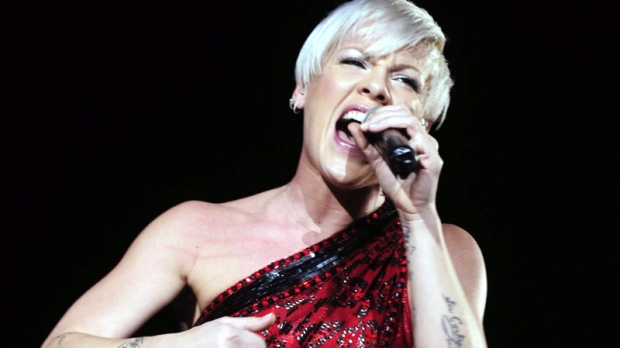 Pink performs on stage during a concert in Zurich, Switzerland, Wednesday, Dec. 2, 2009. (AP / Walter Bieri)
