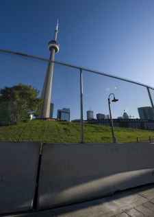A fence surrounds around the Toronto Metro Convention Centre that will host the G20 summit later this month, in Toronto on Monday, June 7, 2010. (Adrien Veczan / THE CANADIAN PRESS)