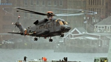 A Canadian military Sikorsky CH-148 Cyclone conducts test flights with HMCS Montreal in Halifax harbour on Thursday, April 1, 2010. The Cyclone will replace the CH-124 Sea King as Canada�s main ship-borne maritime helicopter. (THE CANADIAN PRESS/Andrew Vaughan)