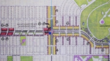 A map shows two blocks of apartment buildings planned along King Edward Avenue. June 10, 2010. (City of Vancouver)