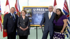 BLANK, left, Transportation Minister Shirley Bond, Premier Gordon Campbell and Nimmi Takkar, chairwoman of the Canadian Federation of Students in B.C., announce that the U-Pass transit program has been expanded to all publicly funded colleges and universities in the province. June 9, 2010. (CTV)