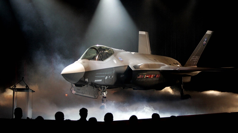 The Lockheed Martin F-35 Joint Strike Fighter is shown after it was unveiled in a ceremony in Fort Worth, Texas, July 7, 2006. (AP / LM Otero)