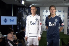 Whitecaps captain Martin Nash and women's team striker Kara Lang modelled Whitecaps FC the new 2011 MLS jerseys on June 10, at Bell's offices when Bell was announced as the team's offical sponsor. CTV