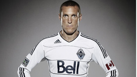 Whitecaps FC men's team captain Martin Nash models the new uniform that