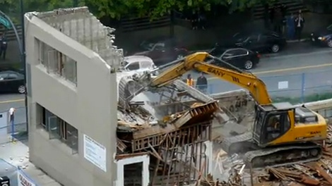 Footage shows a calamitous building demolition in downtown Vancouver on Thursday, June 10, 2010. (YouTube)