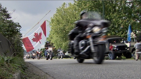 Hundreds of motorcyclists pay tribute to B.C. soldiers killed in Afghanistan on Saturday, June 12, 2010. (CTV)