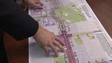 Vancouver city planner Brent Toderian displays draft plans for development along the Cambie Street corridor. June 13, 2010. (CTV)