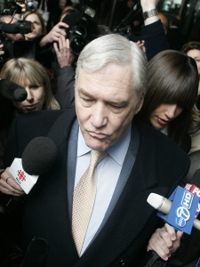 Convicted newspaper baron Conrad Black leaves the federal building with his daughter Alana Black, right, in Chicago Monday, Dec. 10, 2007, after sentencing in his racketeering and fraud trial.  (AP / Jerry Lai)