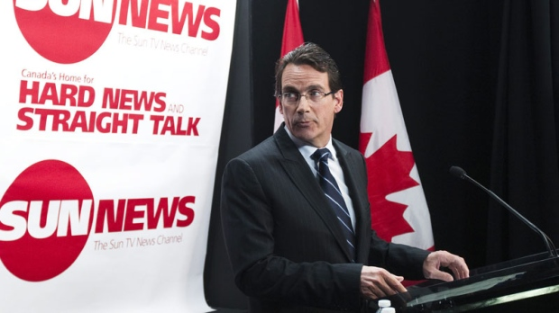 Quebecor Media Inc. CEO Pierre Karl Peladeau addresses a news conference in Toronto, Tuesday, June 15, 2010 to launch the proposed Sun TV News Channel. (Nathan Denette / THE CANADIAN PRESS)